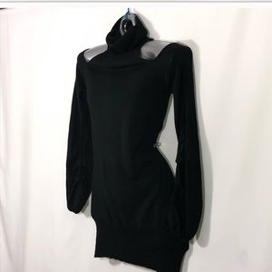 DKNY Black turtleneck cold shoulder sweater dress